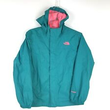 THE NORTH FACE Hyvent Jacket Hooded Rain Coat Girls Medium Turquoise Pink