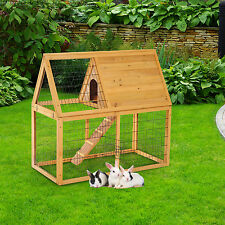 """Pawhut 47"""" Deluxe Wooden Rabbit Hutch Poultry Animal Cage Chicken Coop W/ Run"""