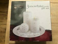 Holiday Time - 3 Snowflake Candle Gift Set - Round Metal Plate Stand Decor