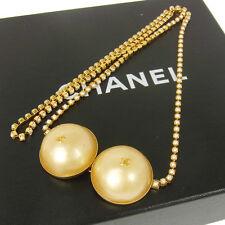 Authentic CHANEL Vintage CC Logos Imitation Pearl Belt Accessories BA01295