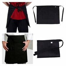 Black Half Short Waist Apron Pocket Waiter Waitress Chef Cafe Pub Barista Bar