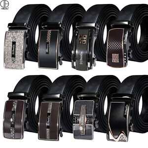 Clearence Black Leather Mens Belts Formal Automatic Buckles Ratchet Waist Straps