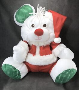 Vintage Puffalumps Christmas Mouse Plush Santa Clause White Fisher Price Clean!