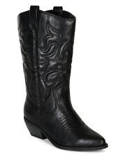 NEW Women's Pointed Toe Cowboy Western Low Heel Mid-Calf Riding Boot Size 6 - 11