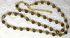 "Signed Joan Rivers Lt & Dk Topaz & Gray Faceted Glass Beaded 34"" Necklace - nwot"