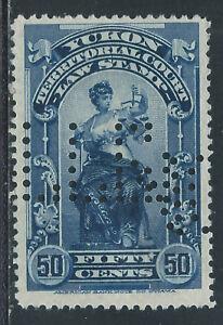 Canada #YL9(6) PERFIN 1903 50 cent blue YUKON LAW - TERRITORIAL COURT CV$5.00