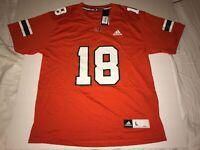 New Men's Adidas Miami Hurricanes Replica Jersey #18 $75 Large Orange