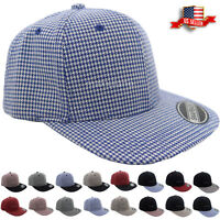 Snapback Hat Hip-Hop Style Baseball Cap Visor Twill Checkered Flat Bill Size One