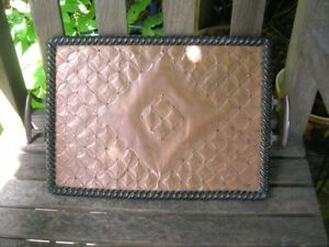 Unusual Vintage Copper & Brass Decorated SERVING Drinks TRAY 10 x 16ins