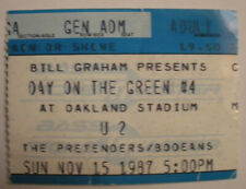 U2/The Pretenders/Bodeans Day on The Green Concert Ticket Stub Oakland Ca. 1987