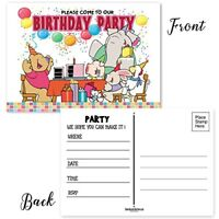 "Kids Party Invitation - 4"" x 6"" Fill In  Party Postcards - 25  Invites-17006"