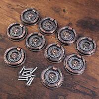 10pcs Kitchen Cabinet Cupboard Drawer Pull Ring Handle Knob Antique Brass