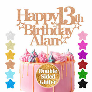 Personalised Happy Birthday Cake Topper Custom Cake Decoration 13th 21st 60th