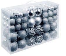 100 X Weihnachtskugel Farbe Silber und 100x Metallhaken Weihnachten Baumschmuck
