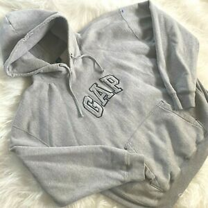 Vintage 90s GAP 3D Logo Hoodie Thick Sweatshirt XXL Gray Loungewear
