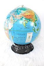 "Vtg Rare Rand McNally RandMark III 16"" Globe on Black Time Direction Base"