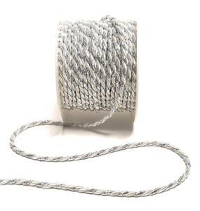 1m/0,40€) KORDEL 15m x 4mm WEIß - SILBER Dekoband KORDELBAND Schleifenband