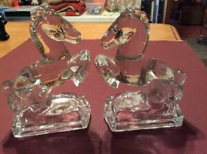 """Crystal Clear Glass Rearing Horse Bookends Pair 7 3/4"""" Tall"""