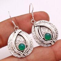 Green Onyx gemstone 925 Sterling Silver Jewelry handmade solid Dangle Earring