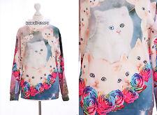TY-G071 Gothic Punk Katze Cat Rosen Rose bunt Pullover Harajuku Japan