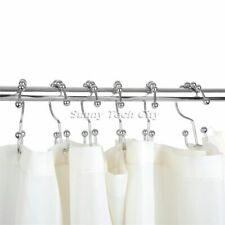 Stainless Steel 12Pcs Double Glide Bathroom Shower Curtain Hooks Rings Roller