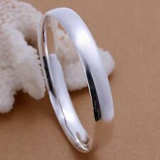 Elegant 925 Sterling Silver Jewelry Flat Circle Bangle Bracelet for Women Men