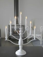 Bianca 7L wooden candlestick, white