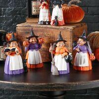 "🎃RAZ Imports~8"" Halloween Resin Witch~w/Black Cat/Pumpkin/Owl Broom/Spell Book"