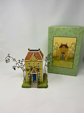 Partlite Winding Lane Yellow House Candle Holder With Box Discontinued Rare!