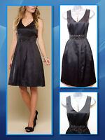UK 12 MONSOON Black Arianne Silk Embellished Waist Prom Cocktail Party Dress