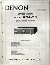Denon POA-7.5 Stereo Power Amplifier Service Manual, Parts Original Shop Repair