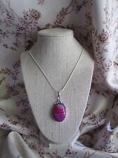 Natural Pink Botswana Agate Pendant & Silver Plated Chain ~ Necklace ~ (9Q)