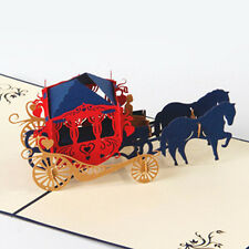 3D Vintage Horse Carriage Pop Up Cards Wedding Invitation Anniversary