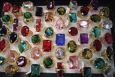 Neuf LOT DE 20PCS bague couleur plaqué or énorme zircon Femme populaire rings