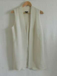 Theory Open Duster Wool Blend Sleeveless Ivory Size M(US S)
