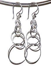 """NEW 2.05"""" LONG 925 Solid Sterling Silver Dangle Big Earrings Hoops Cluster Rings"""