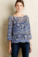 Anthropologie HD in Paris Top Womens Size 4 Montmartre Blue Lace Peasant Sheer