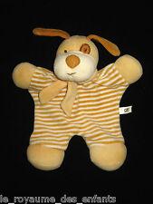 Doudou plat Chien blanc marron beige jaune CA Crédit Agricole 25 cm