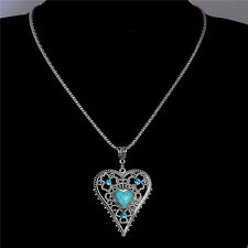 Vintage Fashion Hollow Heart Turquoise Crystal Silver Plated Pendant Necklace