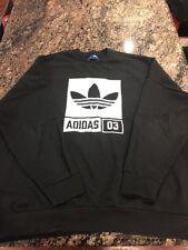 Adidas Black Crewneck Sweater Size 2XL XXL ZIP Sides