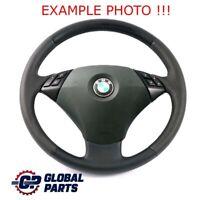 BMW 5 Il E60 E61 LCI Nouveau en Cuir Noir Volant Avec Noir Fils