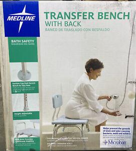 Medline Microban Medical Bath Transfer Bench with Back, Open Box