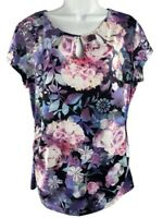 New York & Company Womens L Shirt Blouse Stretch Floral Keyhole Neckline Fitted