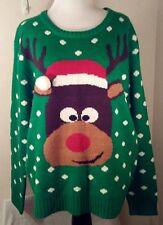 Ugly Christmas Sweater Polka Dot Reindeer Womens XL Green Acrylic Love Design