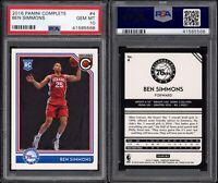 2016-17 Panini Complete Ben Simmons PSA 10 #4 RC *LOW POP* Philadelphia 76ers