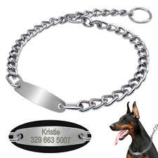 Heavy Duty Dog Choke Check Chain Collars & ID Tag Pet Show Collar Slip Training
