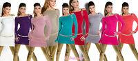 pullover lungo scollo carmen con strass&zip 10 colori tg unica(cintura esclusa)