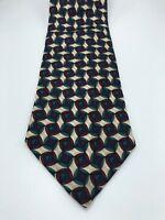 Brooks Brothers 1818 Geometric Pattern Blue Tie - Vintage 80s style Necktie