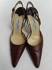 "Beautiful Jimmy Choo London burgundy ostrich leather shoes 4"" heel 38 UK5"
