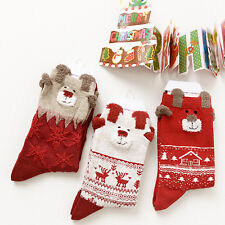 2 Pairs Set Winter Warm Cute Xmas Deer Socks For Women Merry Christmas Gifts